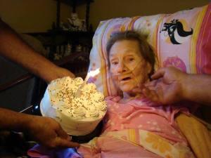 Mrs.O on her 85th birthday.  2013.