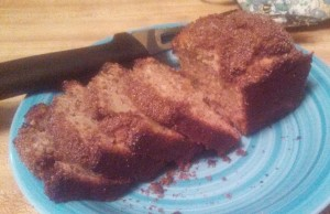Apple Cinnamon Macadamia Nut Bread, sans a slice or two!