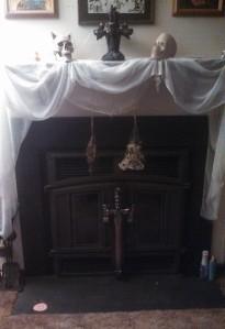 Incomplete Fireplace Halloween Display