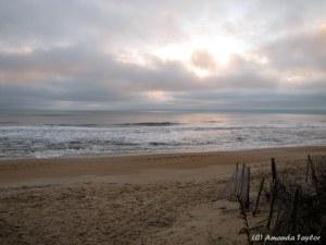 Near sunrise on the beach.
