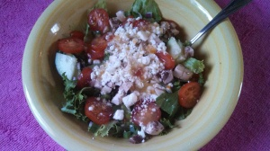 Italian Dressing & Feta cheese give it a boost of flavor. 97 cal.